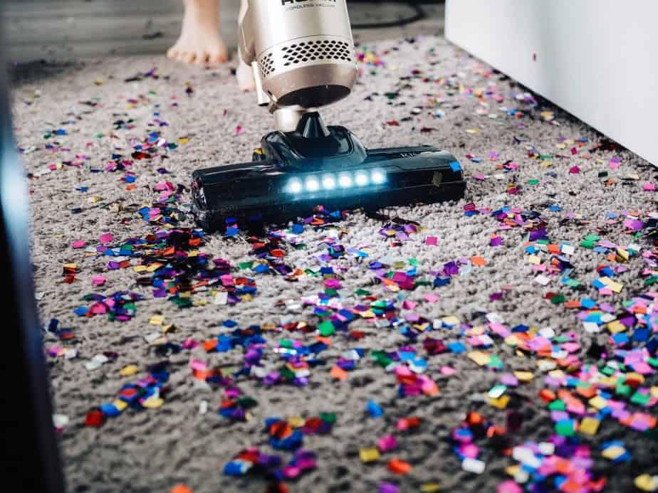 3. Vacuuming Confetti