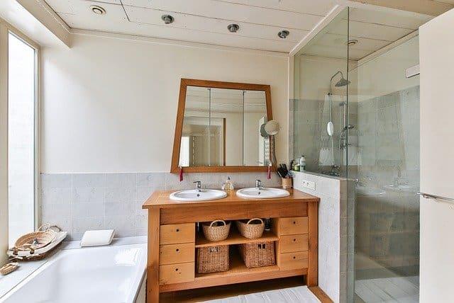 2 wood bathroom furniture