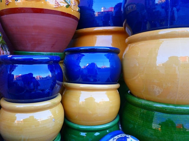 3 Colorful Ceramic Pots