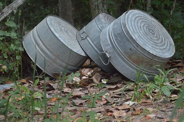 4 Large Steel Wash Basins