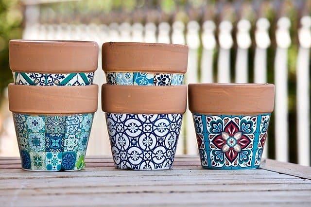 Patterned Terracotta Birdhouse Pots