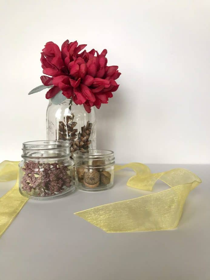 glass jar and faux flowers 10