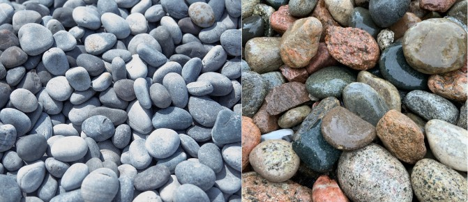 11. Left unpolished Mexican beach pebble right standard