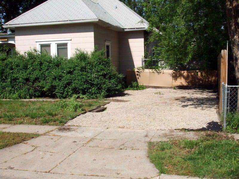 1 White Gravel Driveway with Concrete