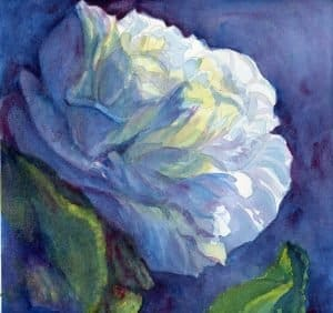 1. Watercolor painting of a white flower at night