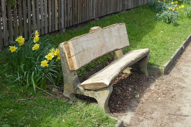 1 Concrete and Wood Bench