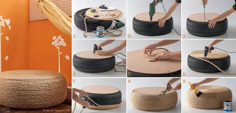 20 Tire Rope Ottoman