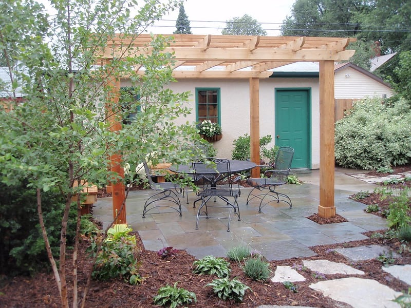 3 Wooden Pergola with Seating Area