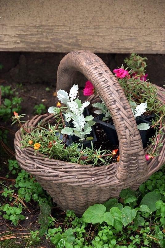 18 Woven Basket Planter